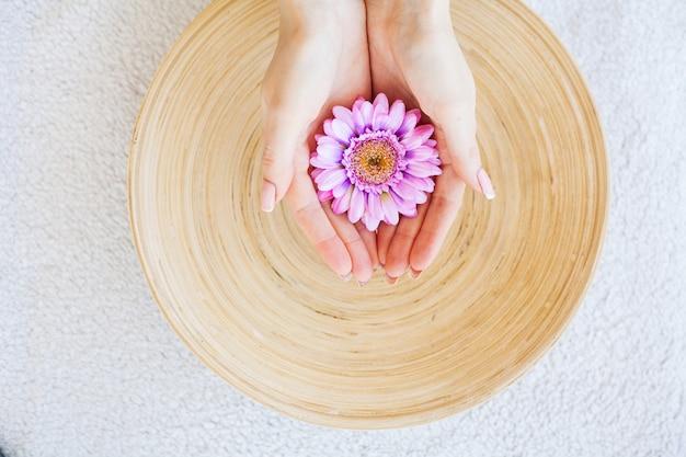 Vrouw houdt mooie bloem in haar handen Premium Foto