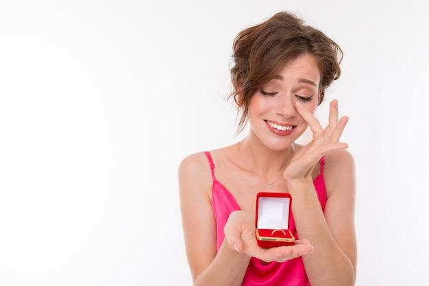 Vrouw huilen van geluk Premium Foto