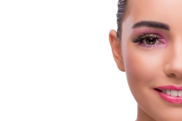 Vrouw in beauty spa concept dat op wit wordt geïsoleerd Premium Foto