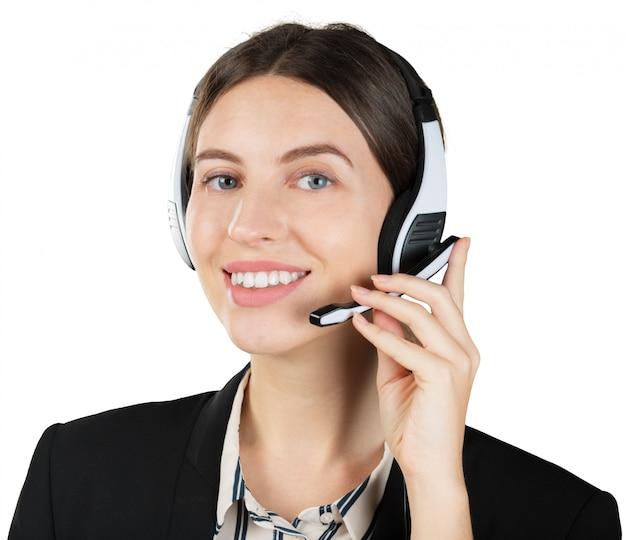 Vrouw klantenservice arbeider Premium Foto
