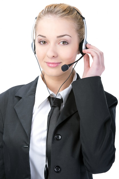 Vrouw klantenservice werknemer call center. Premium Foto