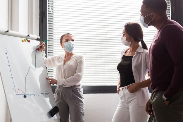 Vrouw met een presentatie op whiteboard op kantoor tijdens pandemie met masker op Gratis Foto