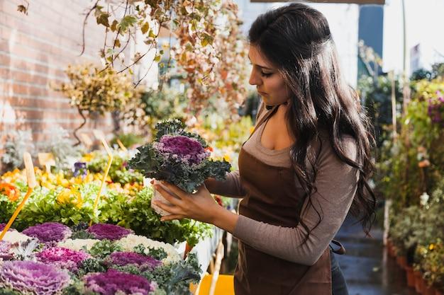 Vrouw met paarse kool Gratis Foto
