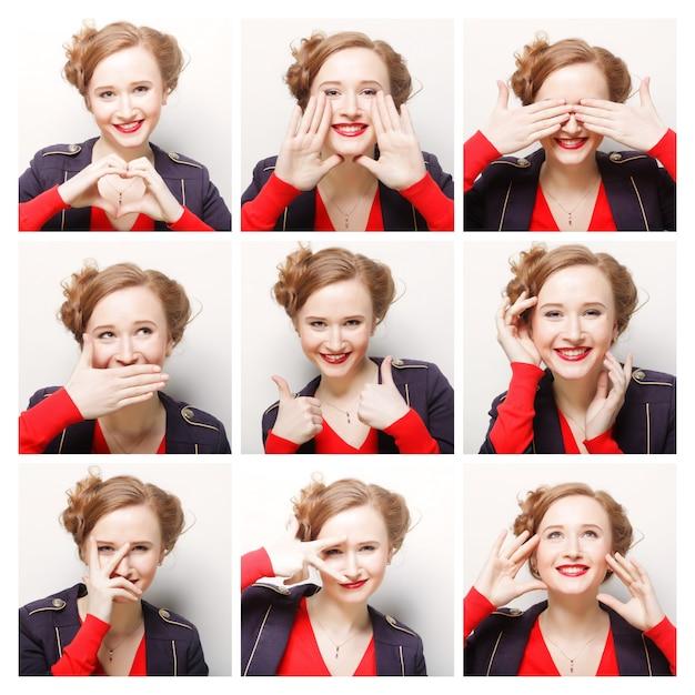 Vrouw verschillende gezichtsuitdrukkingen Premium Foto