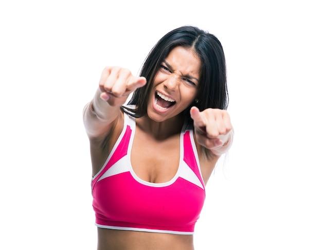 Vrouw wijzende vingers naar voren Premium Foto
