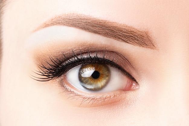 Vrouwelijk oog met lange wimpers, mooie make-up en lichtbruine wenkbrauwclose-up. Premium Foto