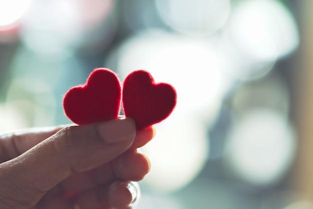Vrouwelijke handen die een paar rood hart, selectieve nadruk houden Premium Foto