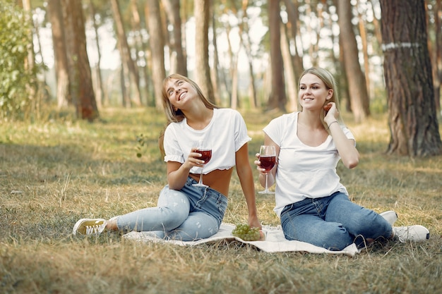 Vrouwen die op een picknick zitten en wijn drinken Gratis Foto