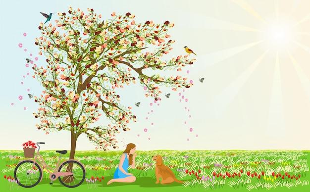 Vrouwen en honden zitten onder de bloemenboom Premium Foto