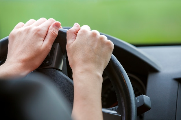 Vrouwenhanden op stuurwiel die een auto drijven. Premium Foto