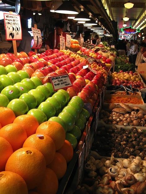 vruchten, fruit, marktkoopman kraam straat Gratis Foto