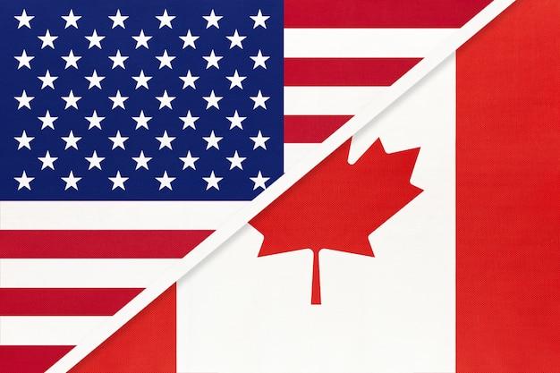Vs versus canada nationale vlag. relatie tussen twee landen. Premium Foto