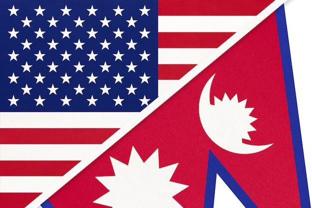 Vs versus republiek nepal nationale vlag van textiel. relatie tussen twee amerikaanse en aziatische landen. Premium Foto