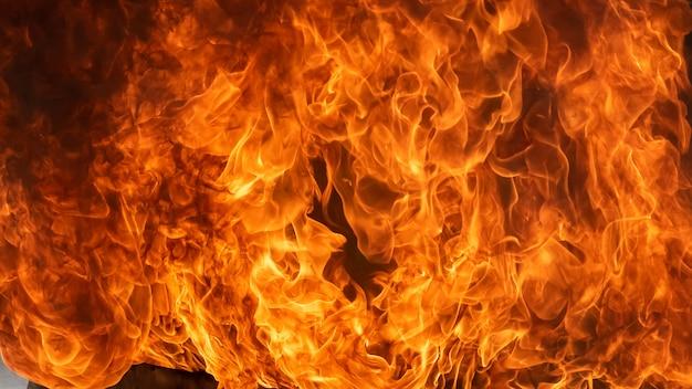 Vuur vlam en rook, detail van blaze vuur vlam voor achtergrond en textuur Premium Foto
