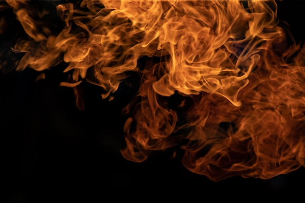 Vuur vlammen op zwarte achtergrond. Premium Foto