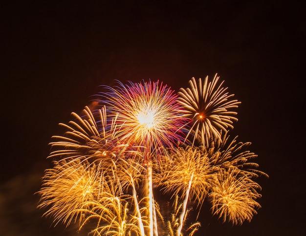 Vuurwerk in de hemel in suan luang rama 9 thailand. Premium Foto