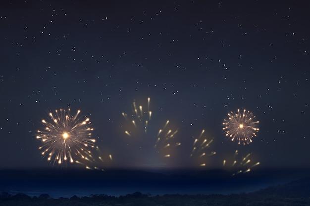 Vuurwerk met de achtergrond van de nachtscène Premium Foto