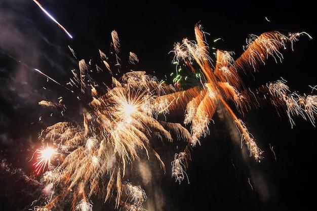 Vuurwerkviering bij nacht - abstracte vakantieachtergrond Premium Foto