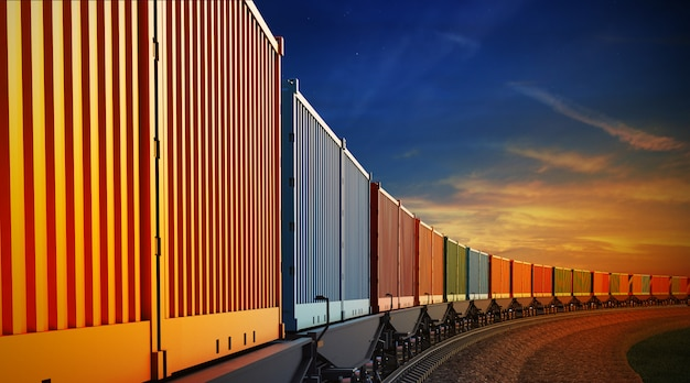 Wagen van goederentrein met containers op de hemelachtergrond Premium Foto