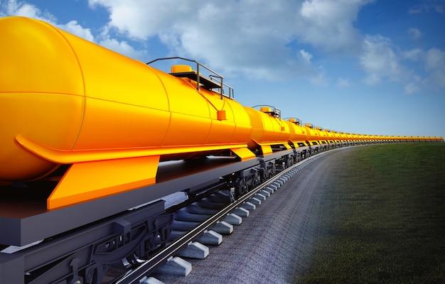 Wagen van oliereservoirs trainen op de hemelachtergrond Premium Foto