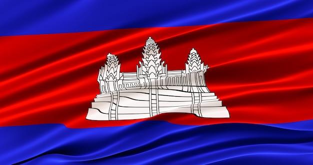 Wapperende vlag van de stof van cambodia, zijde vlag van cambodia. Premium Foto