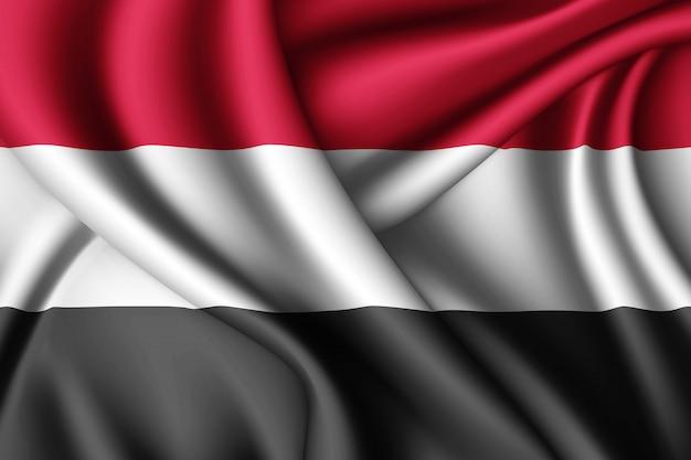 Wapperende zijden vlag van jemen Premium Foto