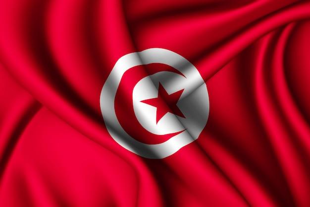 Wapperende zijden vlag van tunesië Premium Foto
