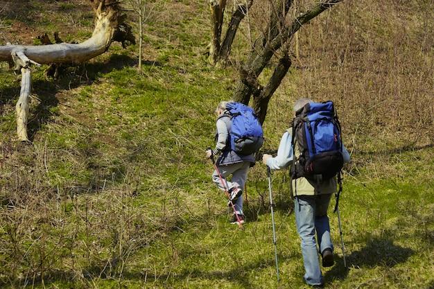 Ware liefde geeft kracht. leeftijd familie paar man en vrouw in toeristische outfit wandelen op groen gazon in de buurt van bomen in zonnige dag. concept van toerisme, gezonde levensstijl, ontspanning en saamhorigheid. Gratis Foto