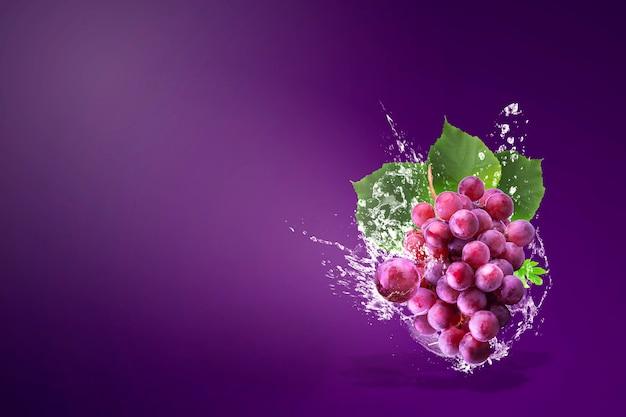 Water spatten op verse rode druiven over paars Premium Foto