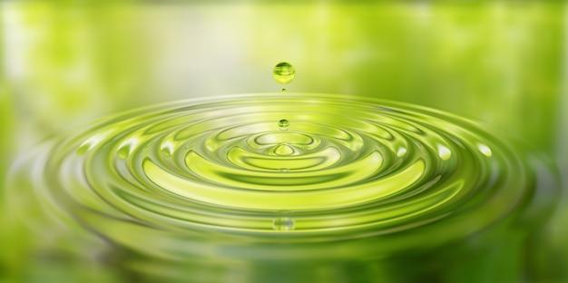 Waterdrop splash close-up op wateroppervlak 3d illustratie Premium Foto