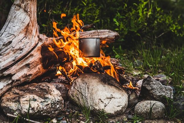 Waterkoker hangt boven vuur. voedsel koken bij vuur in het wild. mooie grote log brandwonden in vreugdevuur close-up. overleven in de wilde natuur. prachtige vlam met ketel. pot hangt in vlammen. kampvuur achtergrond. Premium Foto