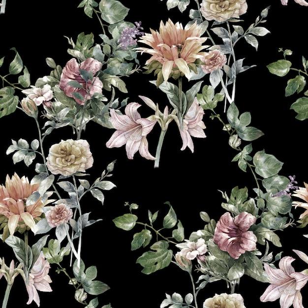 Waterverf het schilderen van blad en bloemen, naadloos patroon op dark Premium Foto