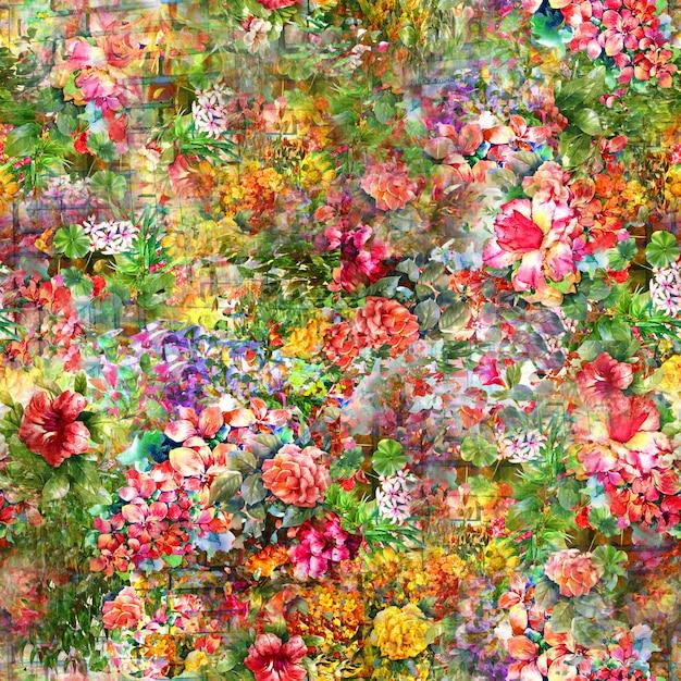 Waterverf het schilderen van blad en bloemen, naadloos patroon Premium Foto