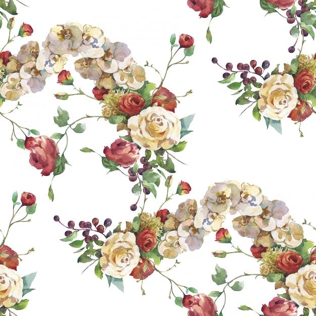 Waterverf het schilderen van blad en bloemen Premium Foto