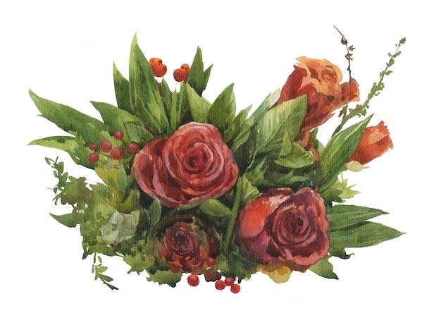 Waterverf het schilderen van bladeren en bloem, op witte achtergrond Premium Foto