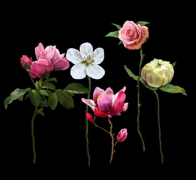 Waterverf het schilderen van bladeren en bloem Premium Foto