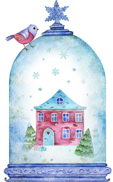 Waterverf houseand bomen in de blauwe kerst sneeuwbol onder vliegende sneeuwvlokken. nieuwjaar symbool. kerstkaart. Premium Foto