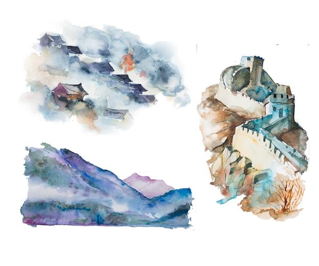 Waterverf met de hand geschilderde aziatische landschapsillustraties. oosterse clipart set. Premium Foto