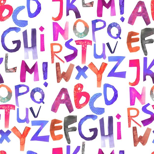 Waterverf naadloos patroon met kleurrijk alfabet Premium Foto