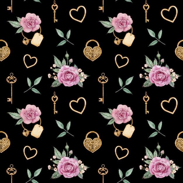 Waterverf naadloos patroon met roze rozen en gouden sloten en sleutels. romantische achtergrond. valentijnsdag liefde patroon. Premium Foto