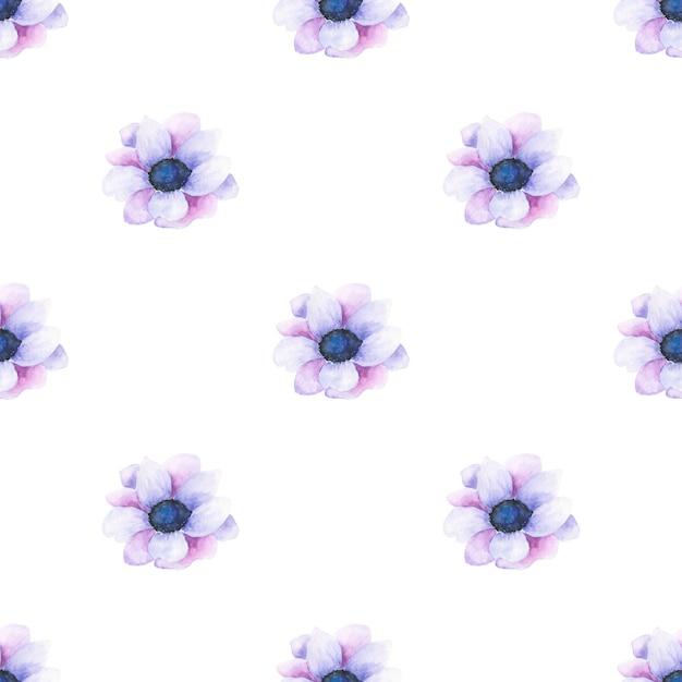 Waterverf naadloos patroon van de zomerbloemen en bladeren op een lichte achtergrond Premium Foto