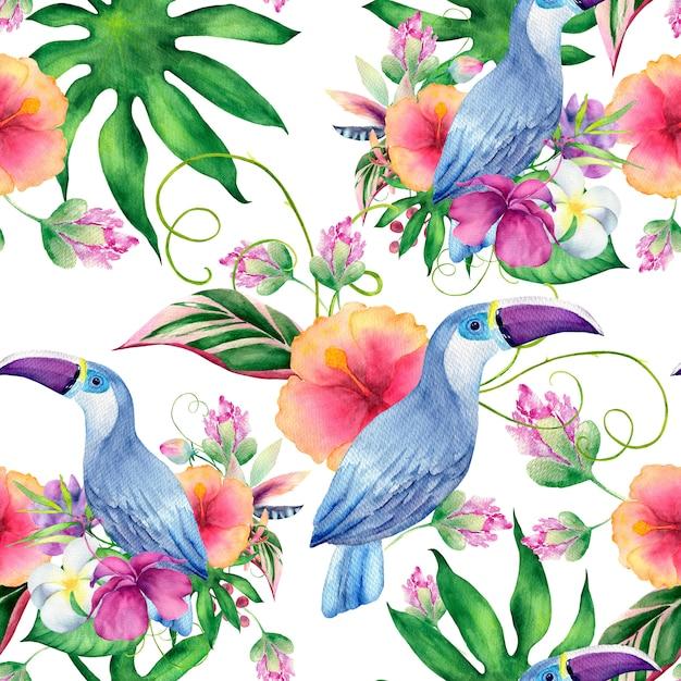 Waterverf naadloos patroon van de zomerbloemen en bladeren Premium Foto