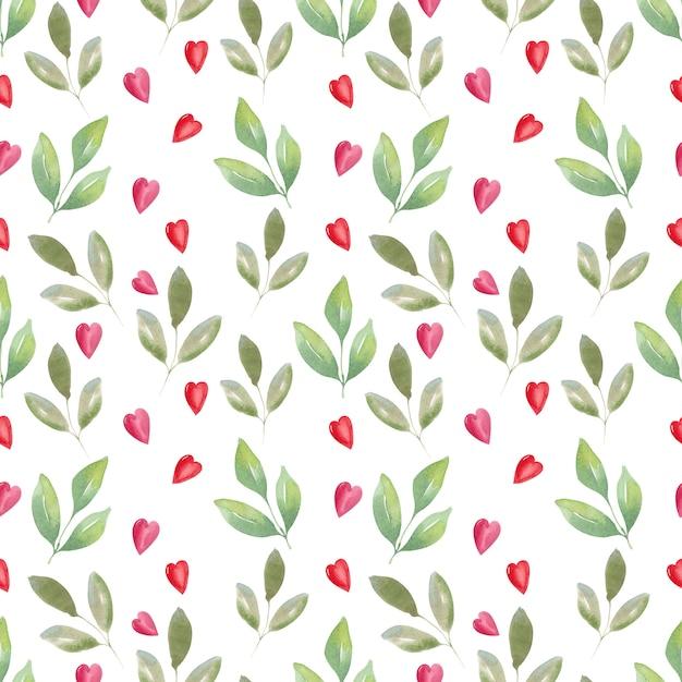 Waterverf naadloos patroon van luchtrozen en harten. feestelijke achtergrond Premium Foto