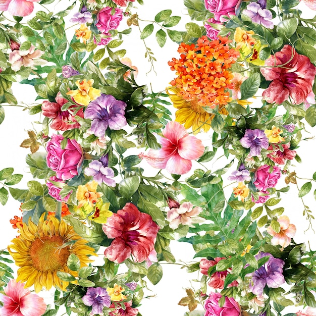Waterverfblad en bloemen naadloos patroon Premium Foto