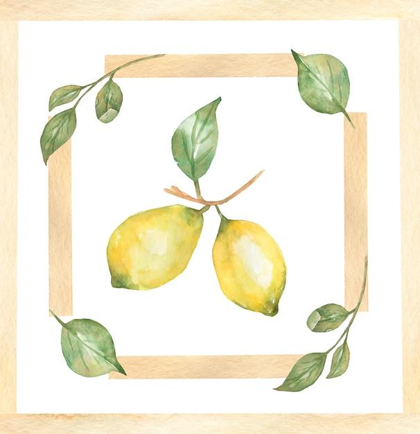 Waterverfhand getrokken ontwerp voor keramische tegels, majolica, waterverfornament met citroencitrusvruchten en bladeren. Premium Foto