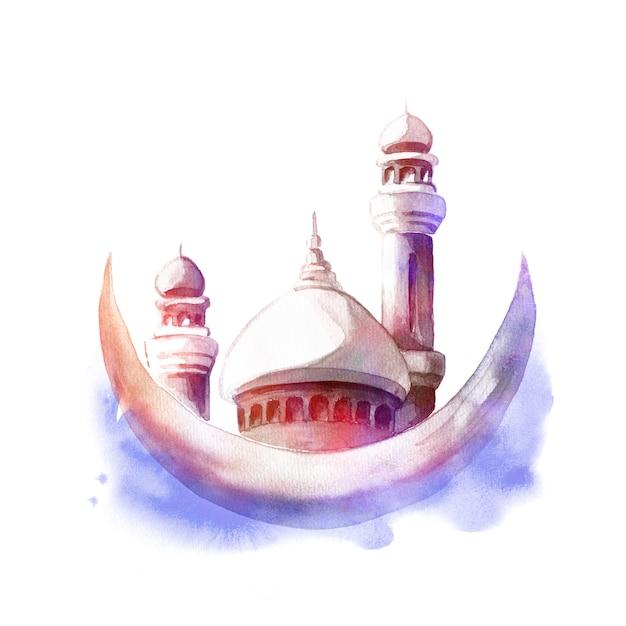 Waterverfillustratie van moskee met minaretten en maan. wenskaart of poster voor islamitische feestdag. Premium Foto
