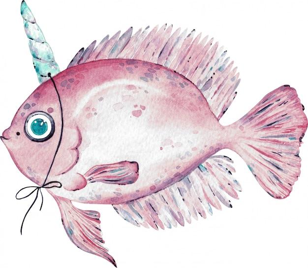 Waterverfillustratie van roze die vissen met een hoorn op het hoofd op wit wordt geïsoleerd Premium Foto