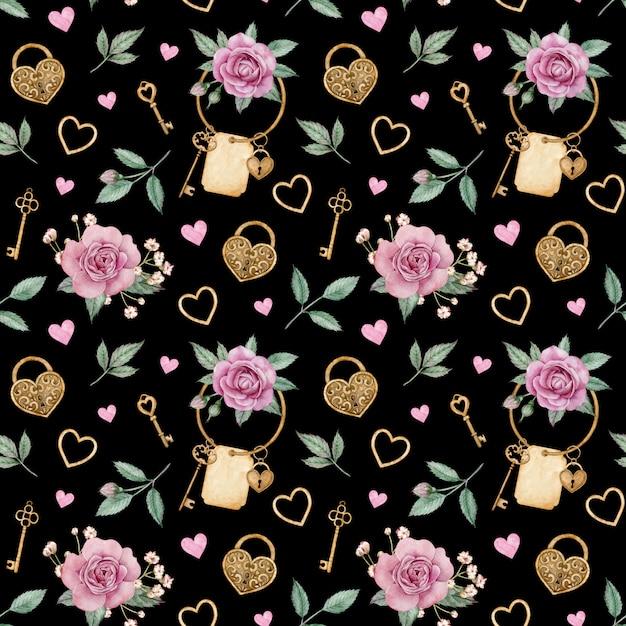 Waterverfpatroon met roze rozen en gouden sloten en sleutels. valentijnsdag liefde patroon. Premium Foto