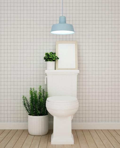 Wc-ontwerp in appartement of hotel - 3d-rendering Premium Foto