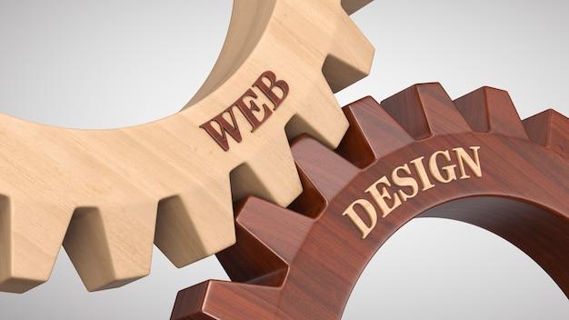 Webdesign geschreven op tandwiel Premium Foto
